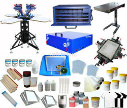 Us 4 Color Screen Printing Kit Set With All Press Machine Flash Dryer Exposure