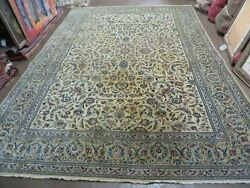 7' X 10' 6 Vintage Hand Made Oriental Wool Rug Hand Knotted Ivory/ Beige Nice