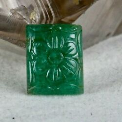 Natural Zambia Emerald Rectangle Carved 6.37 Carats Gemstone For Ring Pendant