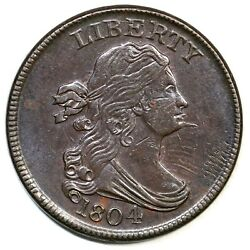 1804 C-6 R-2 Spiked Chin Draped Bust Half Cent Coin 1/2c