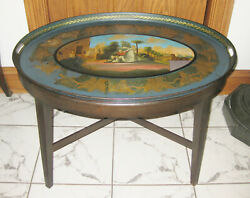 Early 19th Cent. Hand Painted Metal Tray Top Coffee Table