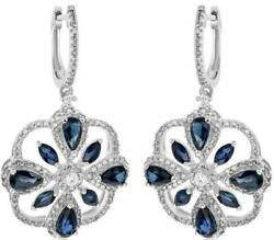 3.77ct Diamond And Aaa Sapphire 14kt White Gold Pear Shape Flower Hanging Earrings