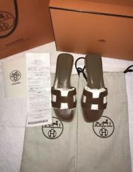 Euc Auth. Hermandegraves Oran Oasis Women Slides Flats Slippers Shoes Tan Brown 6.5 800