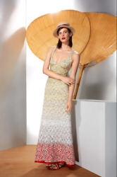 Missoni Ombre Lace Knit A-line Deep V-neck Gown Sz Xs /eu 40 2725 Made In Italy