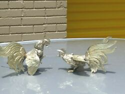 Vintage Pair Of Brass Rooster Fighting Cocks Chickens Figurines Small Statues
