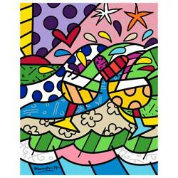 Britto Wine Country Yellow Hand Signed Limited Edition Giclee On Canvas Coa