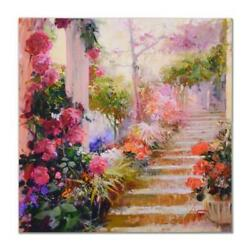 Pino Rose Garden Steps Artist Embellished Limited Edition On Canvas Coa