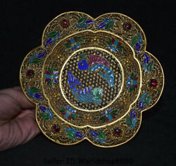 6 Antique Chinese Filigree Gilt Gold Dynasty Palace Fish Flower Plate Screen