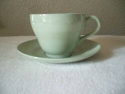 3 Spode England Flemish Green Celadon Footed Cups W. Saucers Discontinued