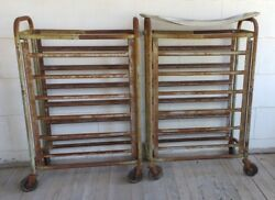 Rare 1800and039s Butcher Shop Meat Carts Pair