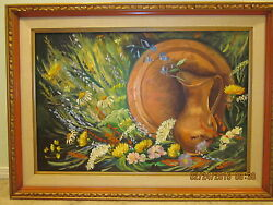Large Vintage Painting Francesca Wright 32 X 44 With Frame
