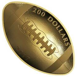 Canada 2017 200 Football-shaped And Curved 1 Oz. Pure Gold Coin Canadian Mint