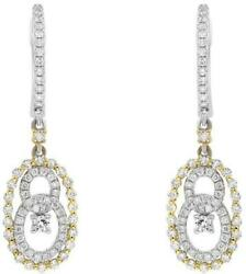 .90ct Diamond 18kt 2 Tone Gold 3d Solitaire Oval Love Knot Hanging Earrings