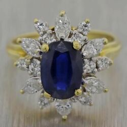 Antique Vintage Estate 18k Yellow Gold 2.50ctw Sapphire And Diamond Ring