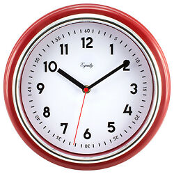 20867 Equity by La Crosse 11.5quot; Silent Sweep Retro Dial Analog Wall Clock Red