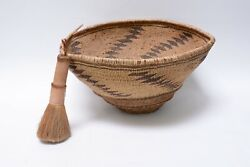 Rare Pit River Indian Basket Hopper And Brush 9 1/2h X 19 X 16 1/2 C. 1890