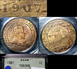 Elite Varieties Canada Large Cent 1907 Repunched 7/7 Rt/lt - Ms63 Rare A448