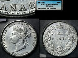 Elite Varieties Canada 25 Cents - 1872h Repunched N/n Canada - Au50 A525