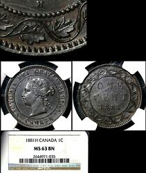 Elite Varieties Canada Large Cent 1881h Single Die Clash - Ngc Ms63 A361
