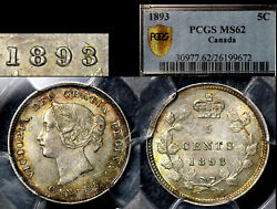 Elite Varieties Canada 5 Cents - 1893 Repunched 9/9 - Pcgs Ms62 A474