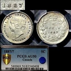 Elite Varieties Canada 5 Cents - 1887 Strongly Repunched 7/7 - Pgcs Au50 A466