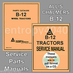 Allis Chalmers B-12 B12 Garden Tractor Service Manual And Parts Ipc -2- Manuals Cd