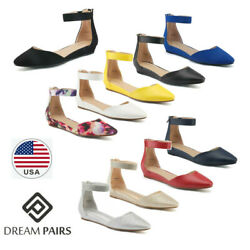 DREAM PAIRS Womens Ballet Flat Shoes Ankle Strap Back Zipper Slip On Shoes