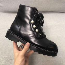 Womens Leather Trim Lace Up Outsole Ankle Boot Pearl Decor Motorcycle Shoes New