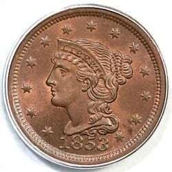 1853 N-10 Pcgs Ms 65 Rb Cac Braided Hair Large Cent Coin 1c