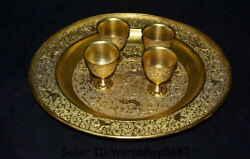 13 Antique China Copper Gilt Gold Palace Dragon Phoenix Plate Drinking Cup Set