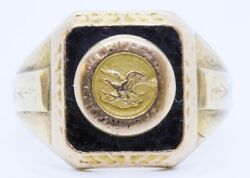 Vintage National Rifle Association Nra 10k Solid Yellow Gold Signet Ring Size 9