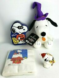 Snoopy Lot Of 4- Christmas Ornament Made In Japan, Witch, Napkins, Candy Tin
