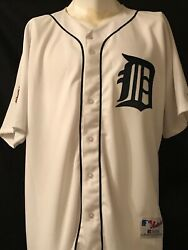 Detroit Tigers Vintage Authentic Russell Home Jersey With 100 Seasons Patch