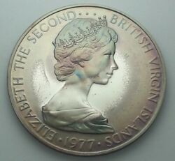 1977 British Virgin Islands Silver Proof One Dollar Bu Unc Color Toned Coin