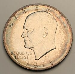 1971 Eisenhower Ike Silver One Dollar Bu Unc Color Toned Coin
