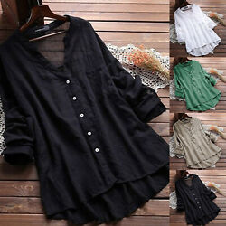 Plus Size Womens Loose V Neck Long Sleeve Blouse Top Summer Tunic Casual T-shirt $15.19
