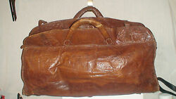 Antique Field Surgeon Doctor Mortician Bandit All Leather Carryall Duffle Bag