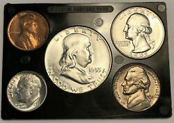 1955 Uncirculated Year Set. With Poor Mans Double Die Cent And Bugs Bunny Half.