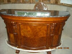 Traditional Home Bar Unit with Marble Top and Two Chairs Never used