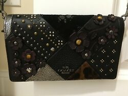 Never Used Coach Crossbody or Clutch in Black & Silver with Tea Rose & Rivets
