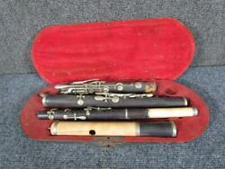 Rare 19thc. Antique Rosewood Flute And Also Piccolo