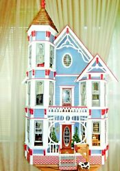 Vintage Victorian Style Miniature Doll House Electrified Furnished 3.5 Feet Tall