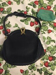 Vintage 1940's Leather Purse Evening Bag Navy Blue With Coin Purse RETRO $24.95