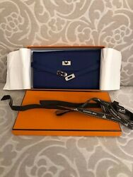 Authentic Hermes Kelly Classic Verso Long Wallet Epsom Leather Blue Ink Color