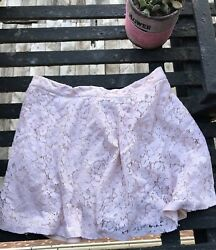 Pink  Blush Lace Floral Forever 21 Short Mini Flowy Shirt In Medium