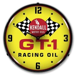 Kendall Gt-1 Motor Oils Racing Oil Man Cave Backlit Led Lighted Wall Clock