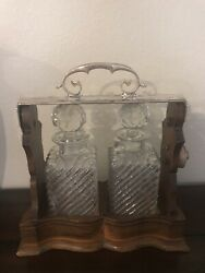 Antique Silver And Wood Tantalus With Free Two Decanters