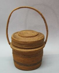 Fine Antique Native American Handled Basket From Museum C. 1920