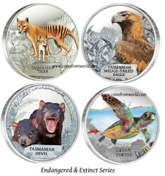 Tuvalu 2011 - 2014 1 Endangered And Extinct Silver Coin Series 4 X 1 Oz. Set