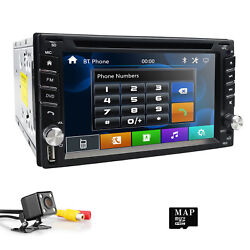 Double 2DIN InDash Car Radio Stereo DVD CD Player GPS Navigation SD BT Camera US